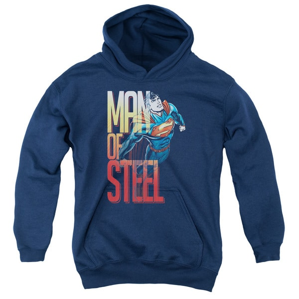 Superman/Steel Flight Youth Pull-Over Hoodie in Navy