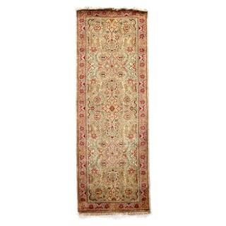 European Polonaise Beige/ Pink New Zealand Wool Rug (9' x 12')