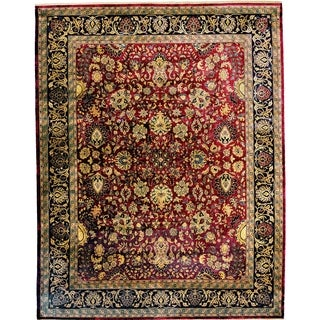 Super Mashad Maroon/ Black New Zealand Wool Rug (8' x 11')