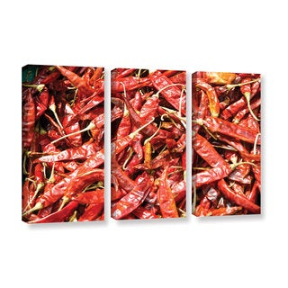 Andrew Lever's 'Red Peppers in a Bunch' 3-piece Gallery Wrapped Canvas Set