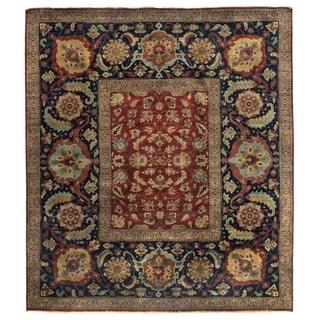 Tabriz Red/ Navy New Zealand Wool Rug (10' x 14')