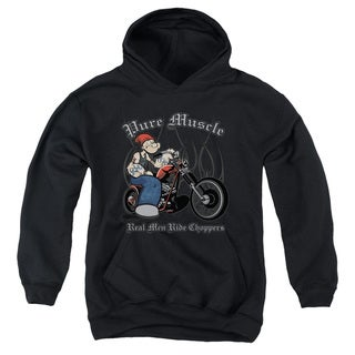Popeye/Pure Muscle Youth Pull-Over Hoodie in Black