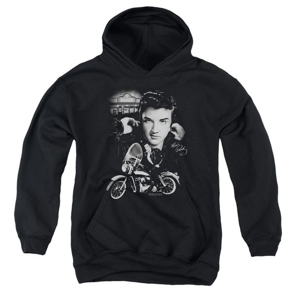 Elvis/The King Rides Again Youth Pull-Over Hoodie in Black