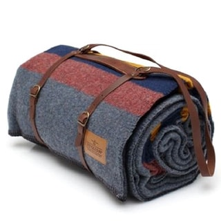 Pendleton Yakima Camp Lake Blue, Green, and Gold Wool and Cotton Twin Blanket with Leather Carrier