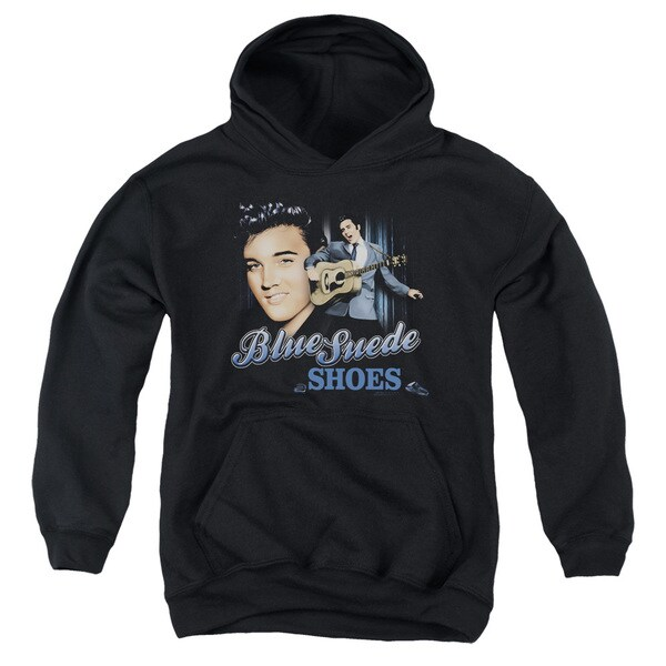 Elvis/Blue Suede Shoes Youth Pull-Over Hoodie in Black