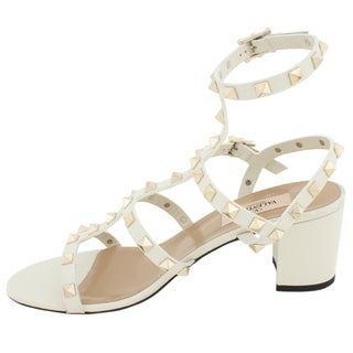 Valentino Rockstud Block-Heel Leather Sandal