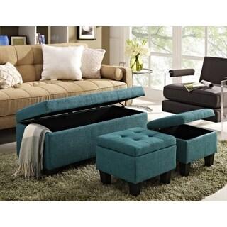 Everett 3-piece Blue Storage Ottoman Set