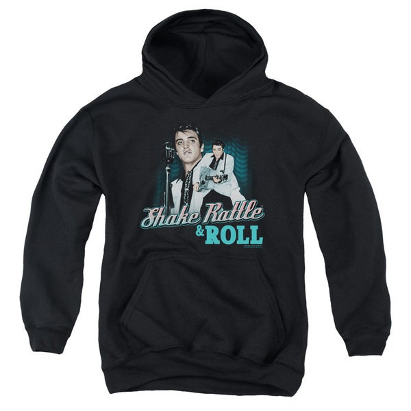 Elvis/Shake Rattle & Roll Youth Pull-Over Hoodie in Black