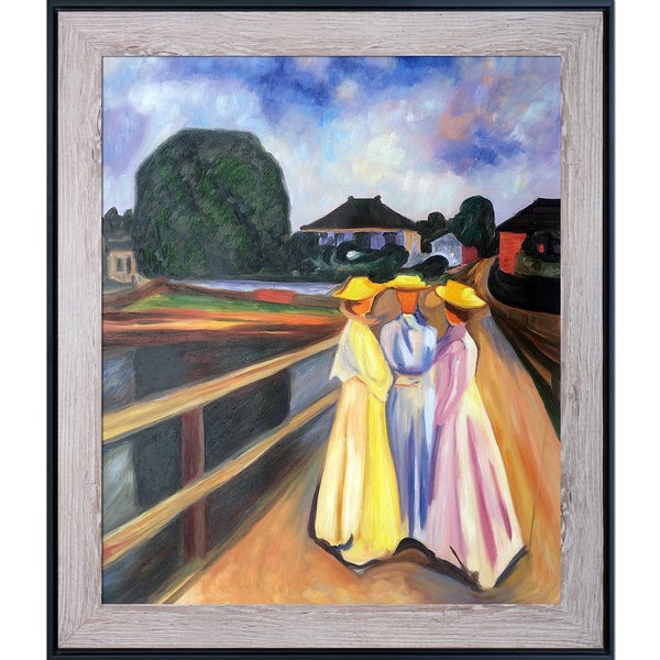 Edvard Munch 'Three Girls on the Jetty, 1903' Hand Painted Framed Canvas Art