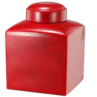 7.5-inch x 1-inch Large Crimson Stria Square Lidded Jar