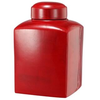 Crimson 5.5 x 8.5-inch Small Stria Square Lidded Jar