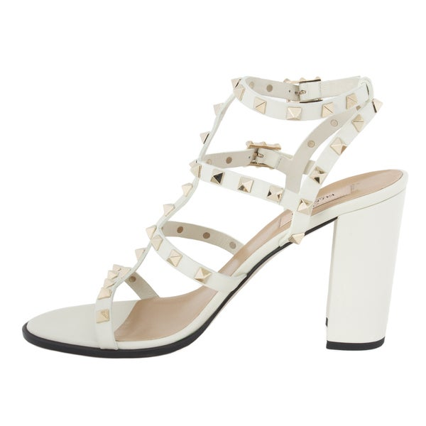 Valentino Rockstud Block-Heel Leather Sandal