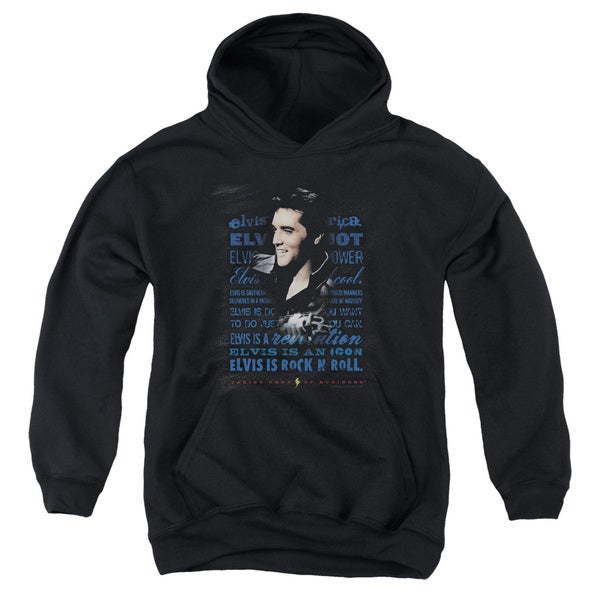 Elvis/Icon Youth Pull-Over Hoodie in Black