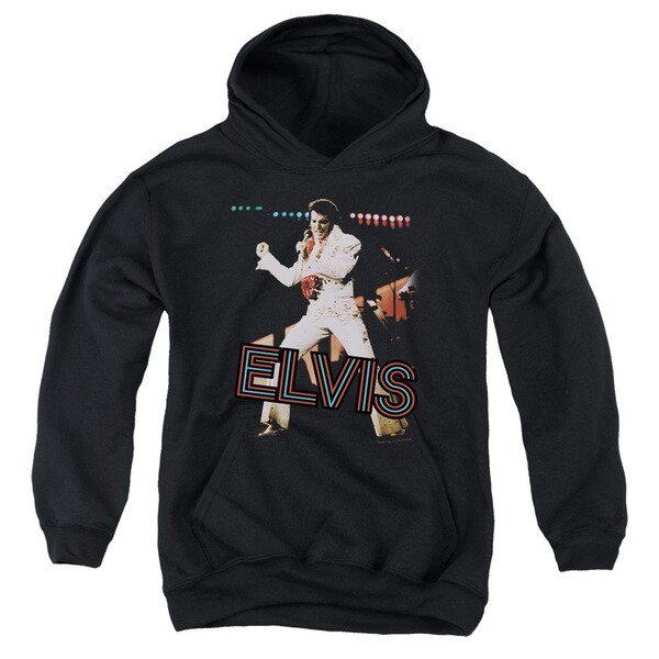 Elvis/Hit The Lights Youth Pull-Over Hoodie in Black