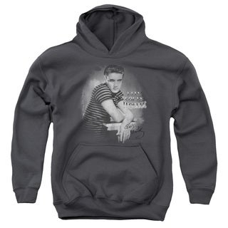 Elvis/Trouble Youth Pull-Over Hoodie in Charcoal