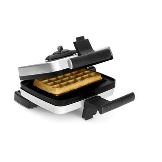 Croquade Silver/Black Traditional Single Thermostat Belgian Waffle Maker