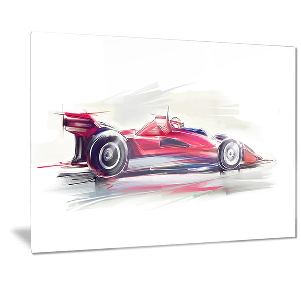 Designart 'Red Formula One Car' Digital Art Car Metal Wall Art