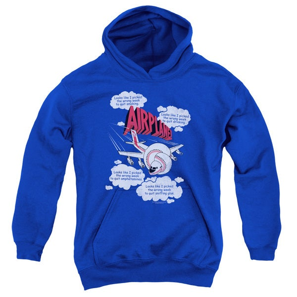 Airplane/Picked The Wrong Day Youth Pull-Over Hoodie in Royal