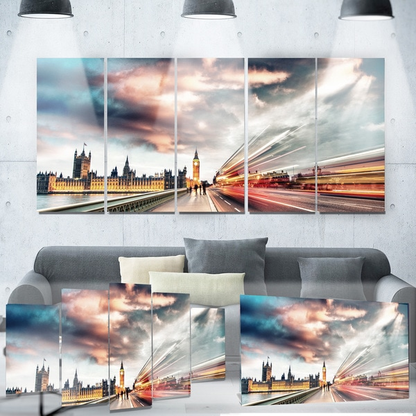 Designart 'Night Scene of London City' Cityscape Photo Metal Wall Art