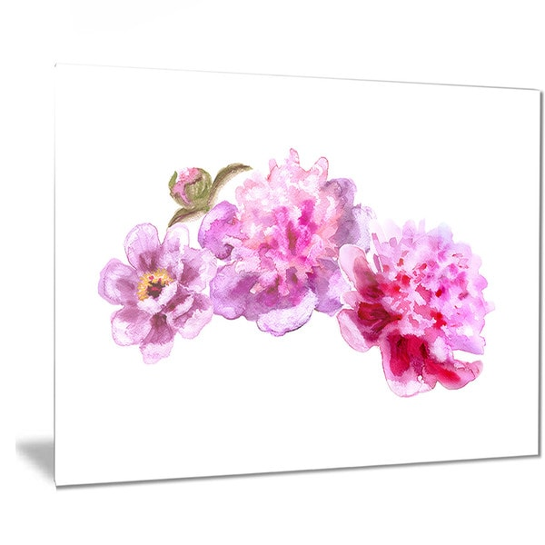 Designart 'Bright Pink Peony Flowers' Floral Metal Wall Art
