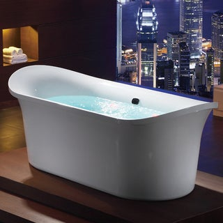 White Acrylic Free-standing Air Bubble Bathtub