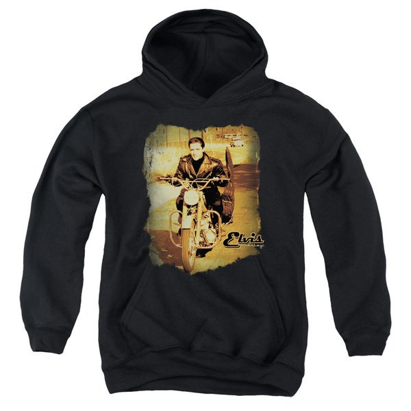 Elvis/Hit The Road Youth Pull-Over Hoodie in Black