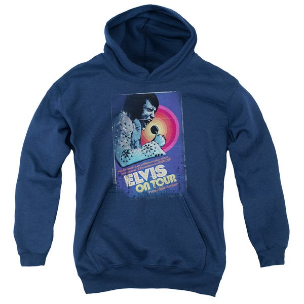 Elvis/On Tour Poster Youth Pull-Over Hoodie in Navy