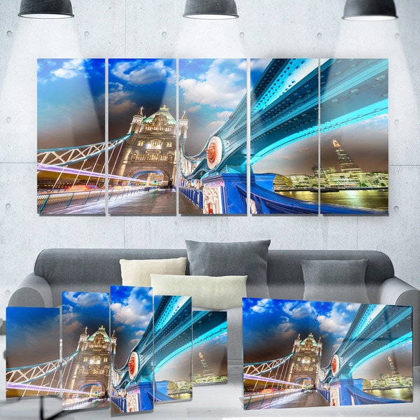Designart 'Night over Tower Bridge in London' Cityscape Photo Metal Wall Art
