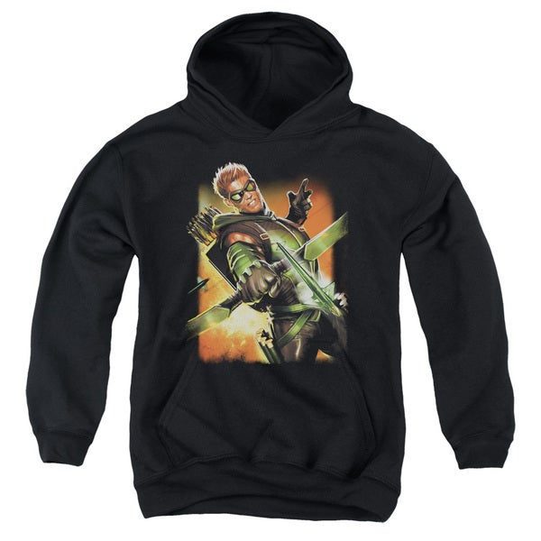 JLA/Green Arrow #1 Youth Pull-Over Hoodie in Black