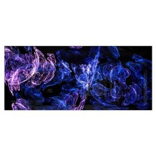 Designart 'Dark Blue Fractal Desktop Wallpaper' Abstract Digital Metal Wall Art
