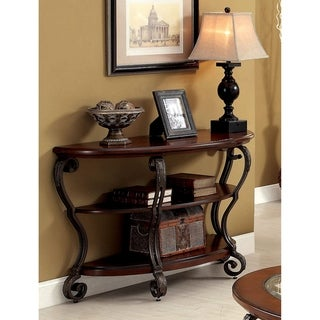 Furniture of America Raiz Traditional Cherry Solid Wood Console Table