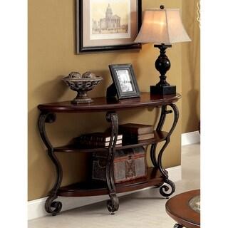 Furniture of America Cohler Elegant Glass Top Half-Moon Sofa Table