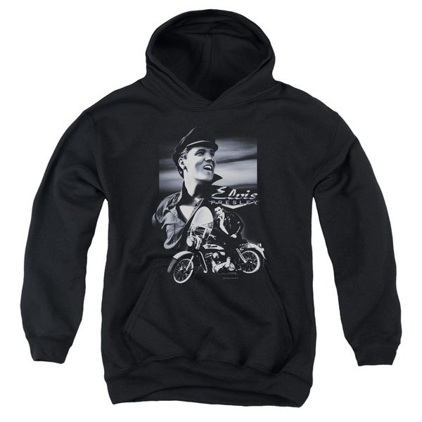 Elvis/Motorcycle Youth Pull-Over Hoodie in Black
