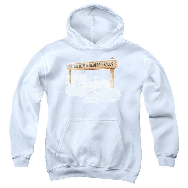 Its A Wonderful Life/Bedford Falls Youth Pull-Over Hoodie in White