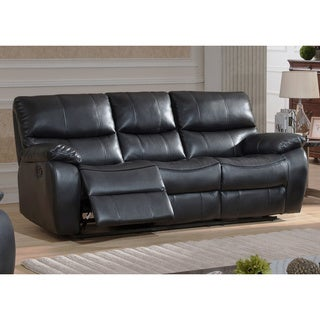 AC Pacific Evan Grey Leather Transitional Reclining Sofa