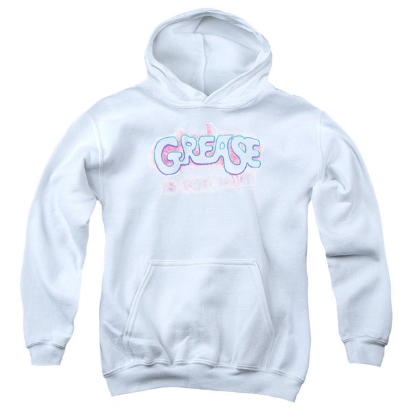 Grease/Grease Is The Word Youth Pull-Over Hoodie in White
