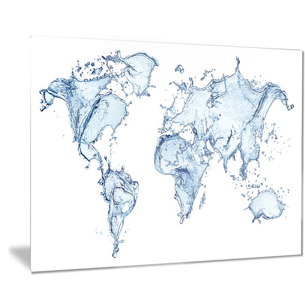 Designart 'World Map Water Splash' Map Digital Art Metal Wall Art
