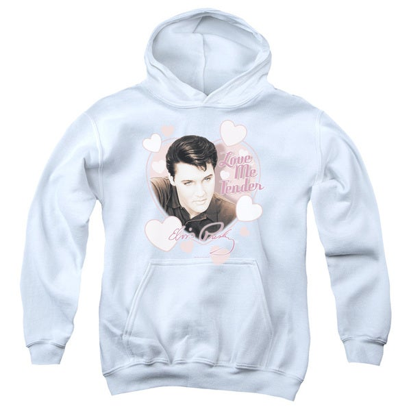 Elvis/Love Me Tender Youth Pull-Over Hoodie in White