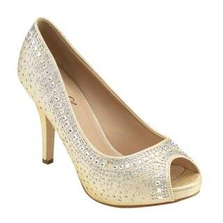 Bella Luna Women's Platform Peep Toe Glitter Heels