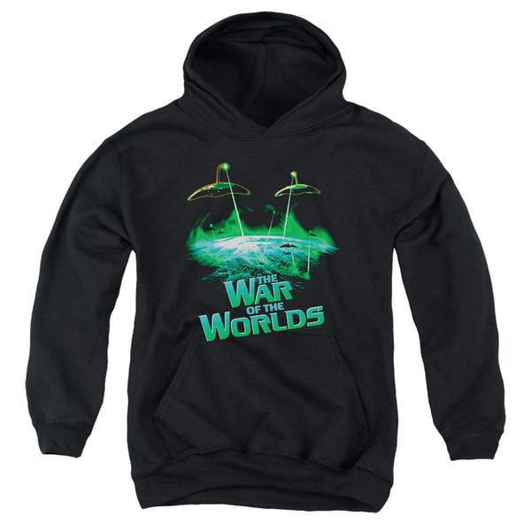 War Worlds/Global Attack Youth Pull-Over Hoodie in Black