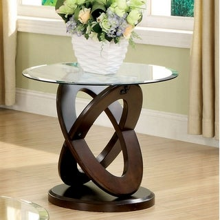 Furniture of America Faza Modern Walnut Solid Wood Round End Table