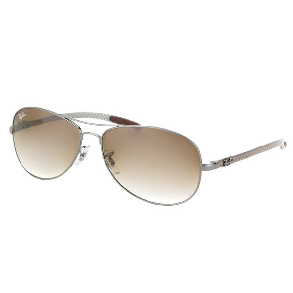 Ray-Ban RB 8301 004/51 Carbon Fiber Cockpit Gunmetal Metal Aviator Brown Gradient Lens Sunglasses