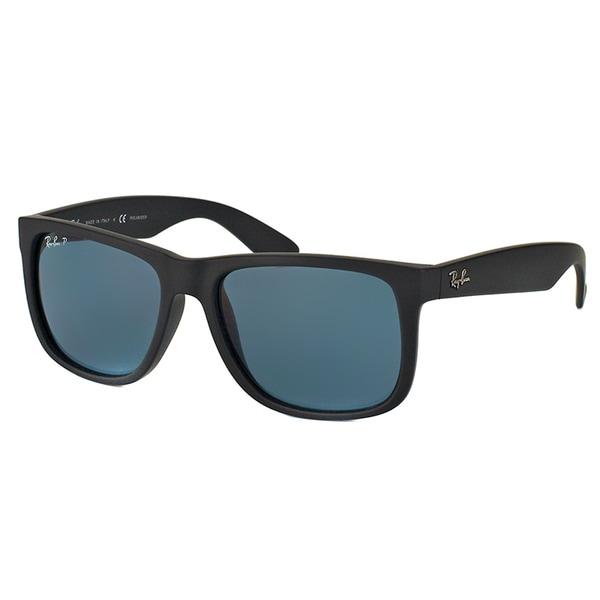 Ray-Ban RB 4165 622/2V Justin Black Rubber Plastic Rectangle Blue Polarized Lens Sunglasses