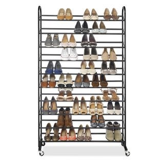 Whitmor Black Chrome Metal 50-pair Shoe Rack