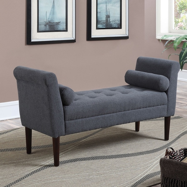 Betty Slate Blue Upholstered Bench With Arms