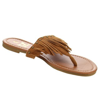 Women's Betani FB61 Tan Faux Suede Fringe Studded T-strap Thong Flat Sandals