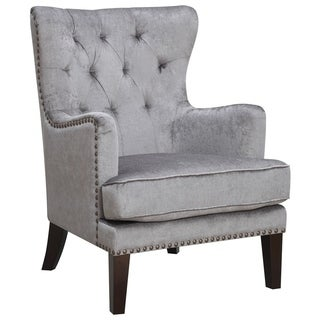Isabella Contemporary Grey Wood/Fabric Wingback Accent Chair