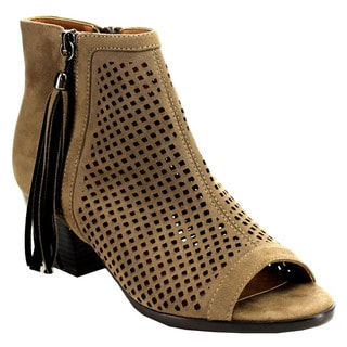 Nature Breeze Women's EC13 Tan and Black Faux-suede Peep-toe Booties