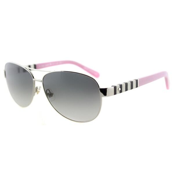 Kate Spade KS Dalia YB7 Silver Metal Aviator Grey Gradient Lens Sunglasses