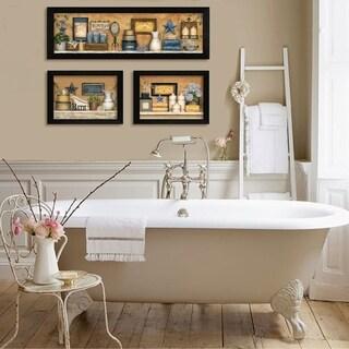 Carrie Knoff 'Bathroom Collection III' 3-piece Framed Wall Art Set